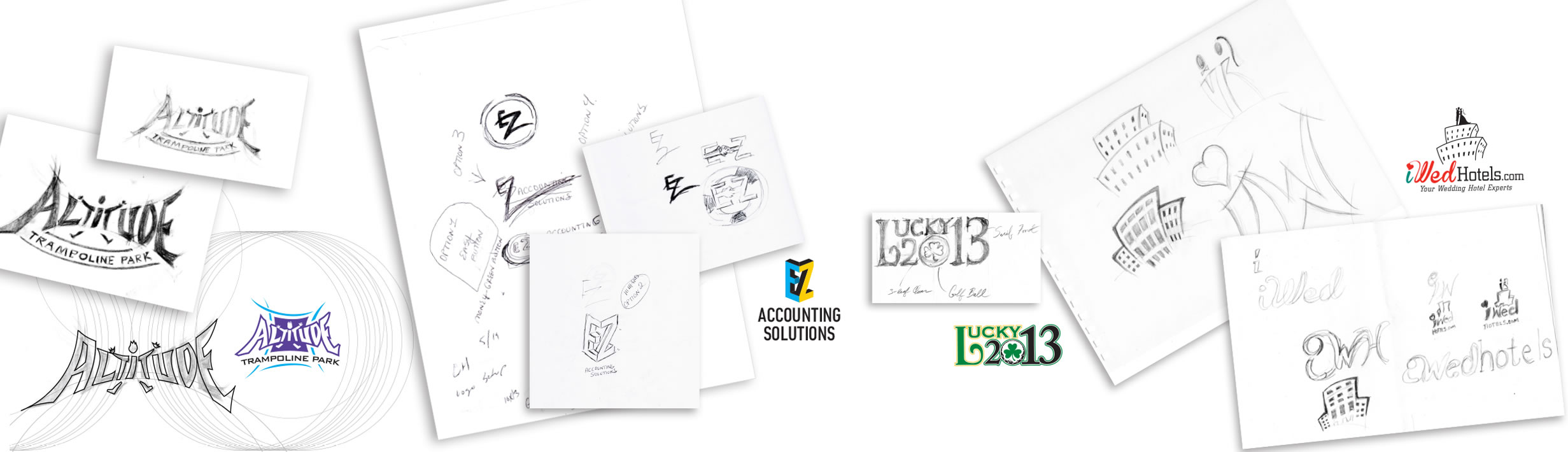 Three examples of logo design from sketch to final iconic logo artwork.